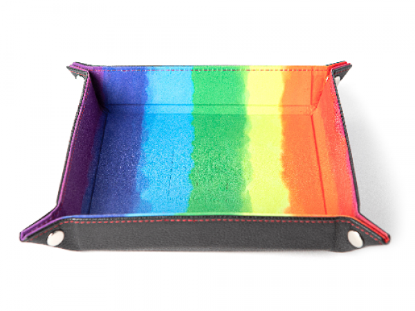 Velvet Folding Dice Tray with Leather Backing 10x10 Watercolor Rainbow