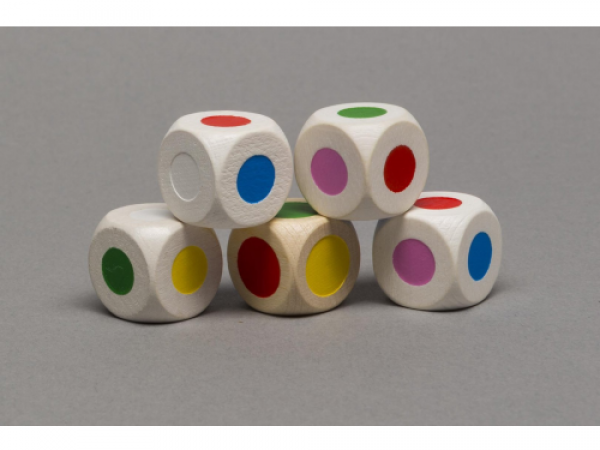 Drevená kocka - farby- 16mm - 1 kus
