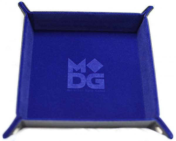 Velvet Folding Dice Tray with Leather Backing 10x10 Blue