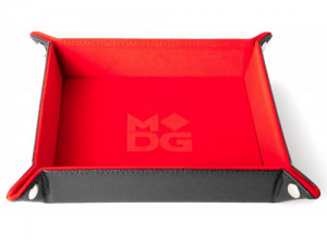 Velvet Folding Dice Tray with Leather Backing 10x10 Red